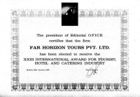International Award for Tourist Hotel & Catering Services 1998