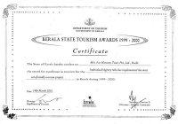 Kerala State Tourism Award 1999-2000