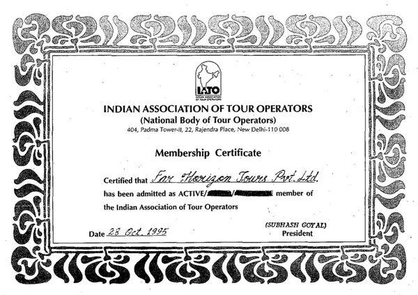 Indian Association of Tour Operators 1995