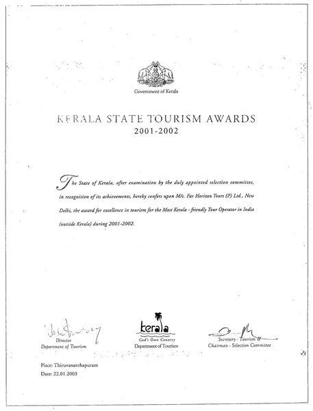 Kerala State Tourism Award 2001-02