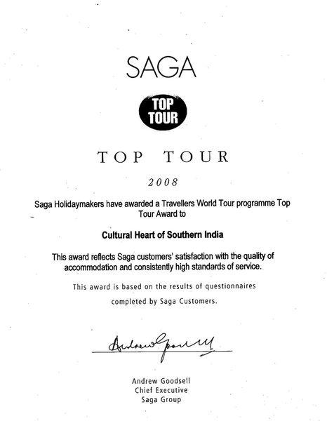 SAGA Traveller World Tour Top Tour Award 2008